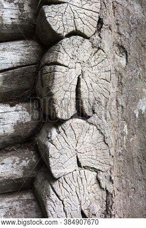 Close-up of wooden log built rural house