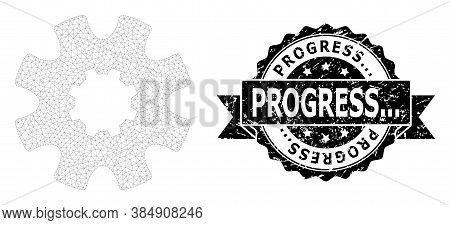 Progress... Unclean Stamp Seal And Vector Cog Gear Mesh Structure. Black Stamp Seal Has Progress...