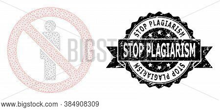 Stop Plagiarism Scratched Stamp Seal And Vector Forbidden Man Mesh Model. Black Seal Includes Stop P