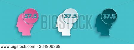 Paper Cut High Human Body Temperature Or Get Fever Icon Isolated On Blue Background. Disease, Cold,