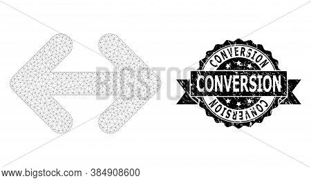 Conversion Textured Stamp Seal And Vector Exchange Arrows Horizontally Mesh Model. Black Stamp Conta