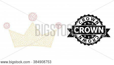 Crown Rubber Seal Print And Vector Crown Mesh Structure. Black Seal Contains Crown Tag Inside Ribbon