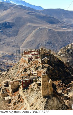 Asian Mountain Village Jhong In Autumn In Lower Mustang, Nepal, Himalaya, Annapurna Conservation Are