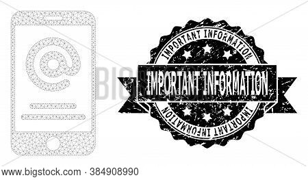 Important Information Textured Seal Print And Vector Smartphone Address Info Mesh Structure. Black S