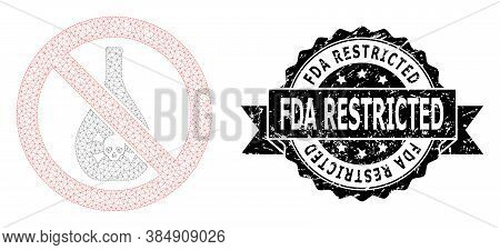 Fda Restricted Scratched Stamp Seal And Vector Forbidden Chemicals Mesh Model. Black Stamp Seal Has