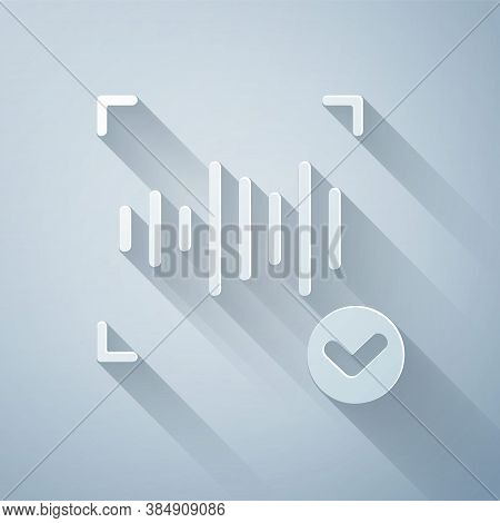 Paper Cut Voice Recognition Icon Isolated On Grey Background. Voice Biometric Access Authentication