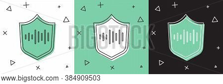 Set Shield Voice Recognition Icon Isolated On White And Green, Black Background. Voice Biometric Acc