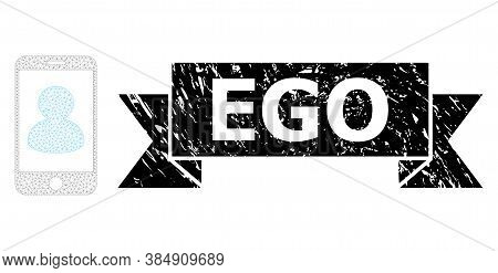 Ego Dirty Seal Print And Vector Smartphone Portrait Mesh Model. Black Stamp Seal Has Ego Text Inside