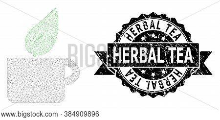 Herbal Tea Grunge Seal Print And Vector Herbal Tea Mesh Model. Black Stamp Seal Includes Herbal Tea