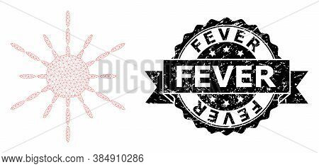 Fever Corroded Seal Imitation And Vector Sun Rays Mesh Model. Black Stamp Seal Has Fever Title Insid