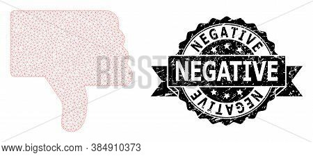Negative Rubber Stamp Seal And Vector Thumb Down Mesh Model. Black Stamp Seal Contains Negative Titl