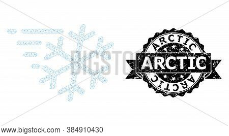 Arctic Scratched Seal Imitation And Vector Frost Wind Mesh Structure. Black Seal Contains Arctic Tex