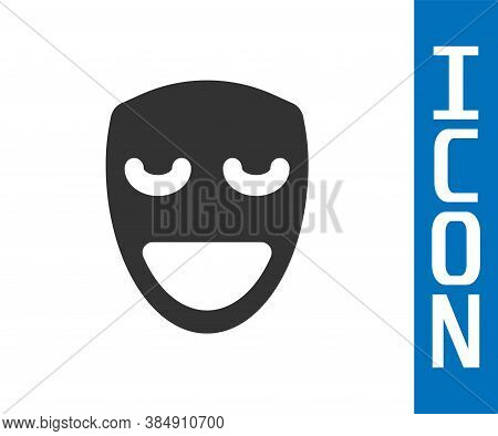 Grey Comedy Theatrical Mask Icon Isolated On White Background. Vector