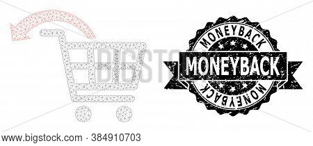 Moneyback Scratched Stamp Seal And Vector Undo Shopping Order Mesh Model. Black Seal Has Moneyback T