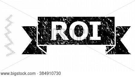 Roi Grunge Stamp Seal And Vector Zigzag Line Mesh Structure. Black Stamp Contains Roi Title Inside R