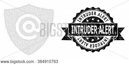Intruder Alert Unclean Seal Print And Vector Email Address Shield Mesh Structure. Black Stamp Seal C