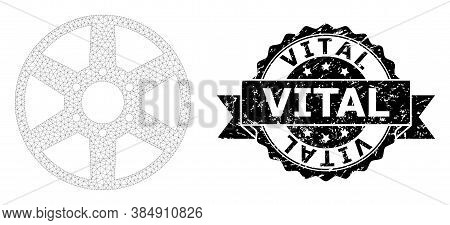 Vital Corroded Stamp And Vector Wheel Mesh Model. Black Stamp Includes Vital Tag Inside Ribbon And R