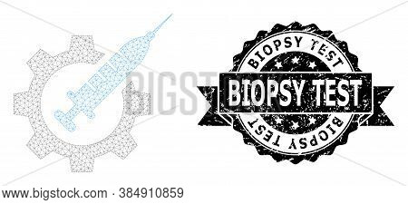 Biopsy Test Grunge Seal Imitation And Vector Vaccine Industry Mesh Structure. Black Stamp Seal Inclu
