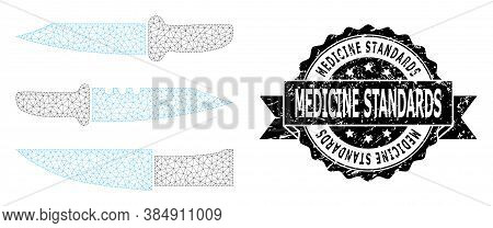 Medicine Standards Unclean Seal Print And Vector Knives Mesh Structure. Black Seal Contains Medicine