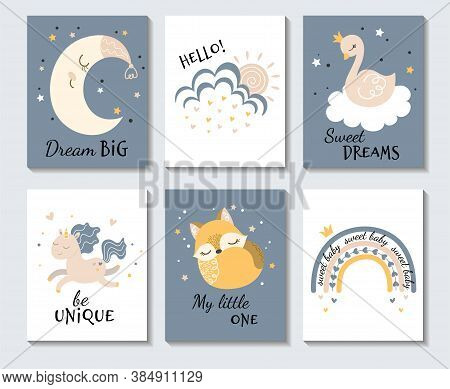 Set Of Cute Pastel Inspirational Cartoon Posters With The Moon, Owl, Sweet Dreams With Bird, Be Uniq