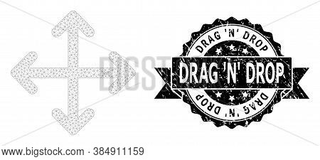 Drag N Drop Textured Stamp Seal And Vector Expand Arrows Mesh Model. Black Stamp Seal Has Drag N Dro