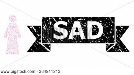 Sad Unclean Seal Imitation And Vector Sad Woman Mesh Structure. Black Stamp Seal Contains Sad Title