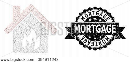 Mortgage Textured Stamp Seal And Vector Kitchen Building Mesh Model. Black Stamp Seal Includes Mortg