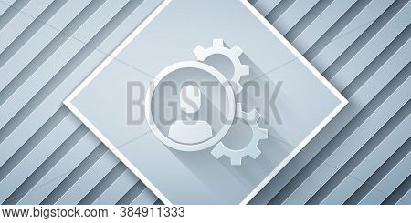 Paper Cut Head Hunting Icon Isolated On Grey Background. Business Target Or Employment Sign. Human R