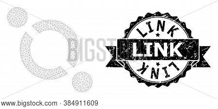 Link Grunge Stamp And Vector Link Mesh Structure. Black Seal Includes Link Caption Inside Ribbon And