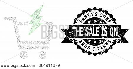 Santas Gone The Sale Is On Corroded Stamp Seal And Vector Proceed Purchase Mesh Structure. Black Sta