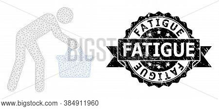 Fatigue Grunge Seal Print And Vector Tired Buyer Persona Mesh Model. Black Seal Contains Fatigue Tit