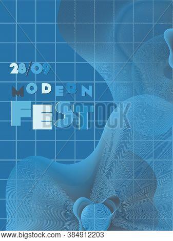 Music Cover In Navy Blue, Indigo, White Colors. Radio Concert Flyer. Minimal Line Brochure. Sound Ba