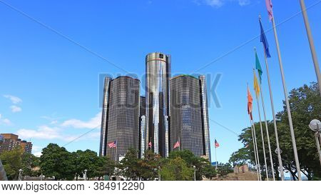 Detroit, MI USA - 8/30/2020:  GM Renaissance Center is one of the modern iconic buildings on the Detroit Riverfront, Also tallest building in Detroit downtown.