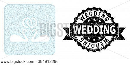 Wedding Scratched Stamp Seal And Vector Wedding Swans Mesh Model. Black Stamp Seal Includes Wedding
