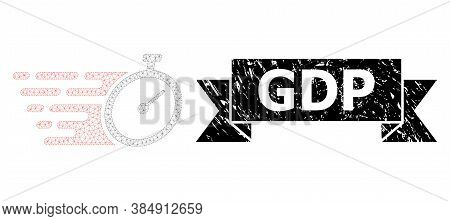 Gdp Unclean Stamp Seal And Vector Time Tracker Mesh Model. Black Stamp Contains Gdp Title Inside Rib