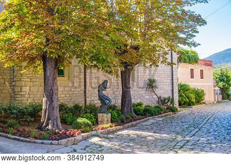 Romantic Cobbled Streets In The Old Town Of Osor On The Island Of Cres In Croatia