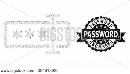 Password Corroded Stamp And Vector Password Field Mesh Model. Black Stamp Seal Contains Password Tit