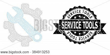 Service Tools Textured Seal Imitation And Vector Service Tools Mesh Model. Black Seal Contains Servi