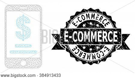E-commerce Scratched Seal And Vector Mobile Dollar Account Mesh Model. Black Seal Contains E-commerc