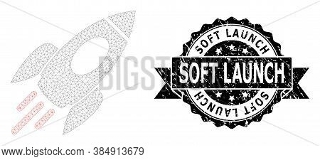 Soft Launch Corroded Seal Print And Vector Space Rocket Mesh Model. Black Seal Has Soft Launch Capti
