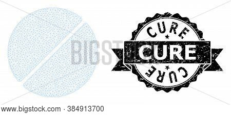 Cure Corroded Stamp Seal And Vector Medication Tablet Mesh Structure. Black Stamp Seal Has Cure Capt