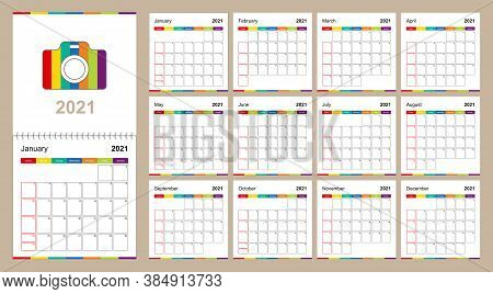 Colorful Wall Calendar For 2021 On Beige Background, Week Starts On Sunday. 2021 Calendar Template S