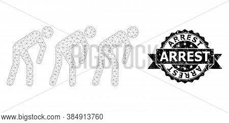 Arrest Grunge Stamp And Vector Slave People Mesh Model. Black Seal Contains Arrest Tag Inside Ribbon