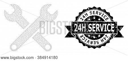 24h Service Textured Stamp Seal And Vector Spanners Mesh Model. Black Stamp Seal Contains 24h Servic