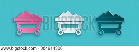 Paper Cut Coal Mine Trolley Icon Isolated On Blue Background. Factory Coal Mine Trolley. Paper Art S