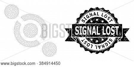 Signal Lost Grunge Stamp Seal And Vector Joint Connector Mesh Model. Black Stamp Seal Contains Signa