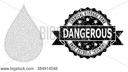 Chemical Storage Zone Dangerous Dirty Stamp Seal And Vector Oil Drop Mesh Structure. Black Stamp Con