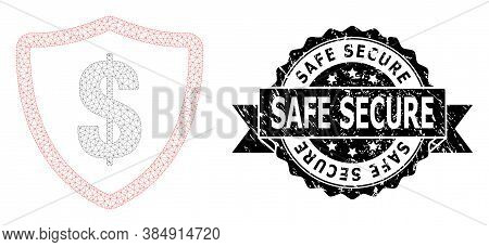 Safe Secure Grunge Stamp Seal And Vector Dollar Protection Mesh Structure. Black Stamp Contains Safe