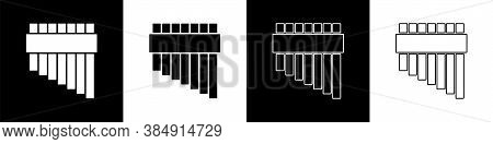 Set Pan Flute Icon Isolated On Black And White Background. Traditional Peruvian Musical Instrument.