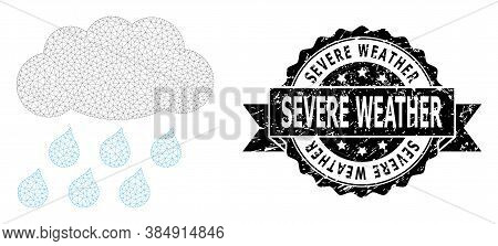 Severe Weather Textured Seal And Vector Rain Cloud Mesh Structure. Black Stamp Has Severe Weather Ca